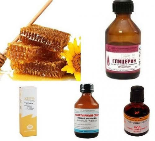 Мед, камфора, глицерин, йод