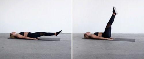 Поднятие ног из положения лежа