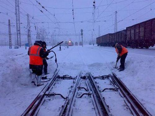 Очистка железной дороги от снега